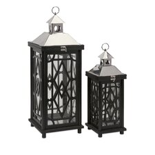 2 Piece Arlington Glass and Wood Lanterns Set