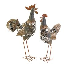 Hinslow 2 Piece Metal Hen and Rooster Statue Set
