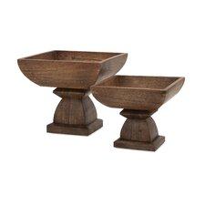 2 Piece Julian Wood Pedestal Decorative Bowl Set