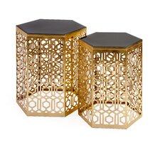 Nikki Chu 2 Piece Lancaster Gold Mirror Table Set