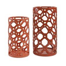 2 Piece Archard Cutwork Ceramic Vase Set
