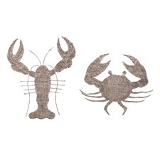 Oceana 2 Piece Lobster and Crab Woven Wall Décor Set
