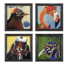 Bird Party 4 Piece Wall Art Set