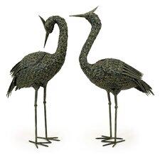2 Piece Metal Coastal Bird Figurine Set