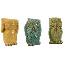 3 Piece Wise Owl Figurine Set