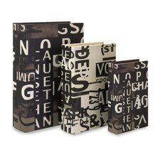 3 Piece Text Collage Book Box Set in Black and White