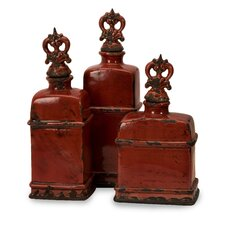 3 Piece Garnet Bottles with Finials Set