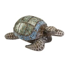 Talulah Carved Wood Mosaic Turtle Figurine