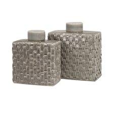 2 Piece Sophie Woven Ceramic Jar Set