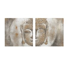 Texturized Buddha Oil 2 Piece Painting Print on Canvas Set