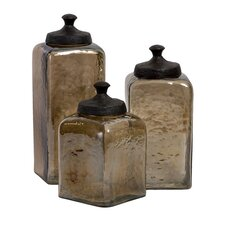3-Piece Square Luster Canister Set
