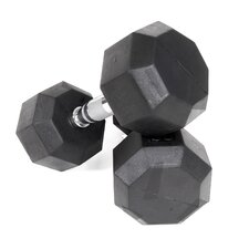 100 lbs Rubber Encased Octagonal Dumbbells (Set of 2)