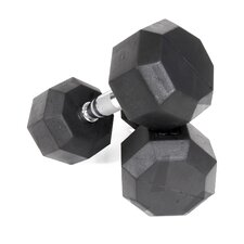 75 lbs Rubber Encased Octagonal Dumbbells (Set of 2)