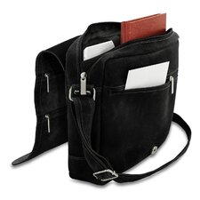 Double Zip on the Flap Distressed Messenger Bag