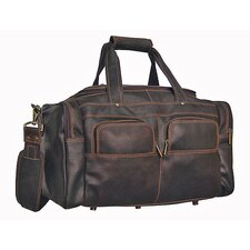 "Distressed 19"" Leather Multi-Pocket Duffel"