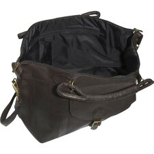 "25"" Leather Top Zip Travel Duffel"