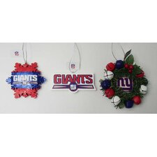 3 Piece Holiday NFL Ornament Set