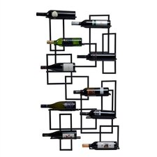 Mid Century 10 Bottle Wall Mounted Wine Rack
