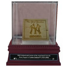New York Yankees Game Used Dugout Bench Slice with Glass Display Case