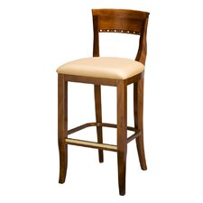 "Italian Wood 32"" Bar Stool with Cushion"