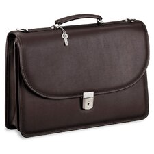 Platinum Double Gusset Leather Briefcase