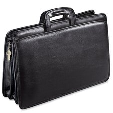 University Double Gusset Leather Briefcase