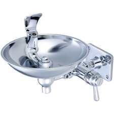 Self Closing Drinking Faucet with Stainless Steel Bowl in Polished Chrome