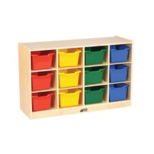 Birch 12 Cubby Tray Cabinet with Scoop Front Bins