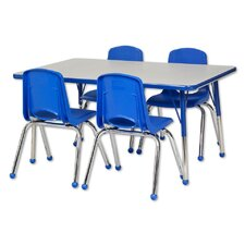"5 Piece 48"" x 30"" Rectangular Classroom Table and Chair Set"