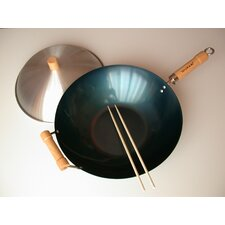 "3 Piece 14"" Preseasoned Flat Bottom Wok Set"