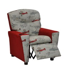 Mixy Vintage Airplanes Suede Kid's Recliner