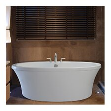 """Center Drain Freestanding 66"""" x 36.75"""" Soaking Tub with Deck for Faucet"""