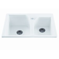 """Reliance 33.25"""" x 21.75"""" Discovery Double Bowl Kitchen Sink"""