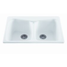 """Reliance 33"""" x 22"""" Colonial Double Bowl Kitchen Sink"""