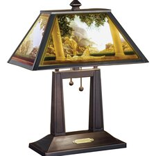 "Maxfield Parrish Daybreak Porcelain Lithophane 20"" H Table Lamp with Rectangular Shade"