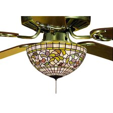 Victorian Tiffany Turning Leaf Fan 3 Light Light Fixture