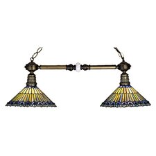 Tiffany Jeweled Peacock 2 Light Billiard Light