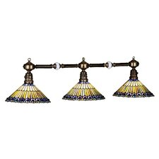 Tiffany Jeweled Peacock 3 Light Pool Table Light