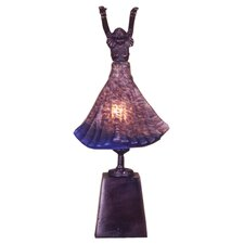 "Silhouette Erte Lighted Dancer 17"" H Accent Table Lamp with Bell Shade"
