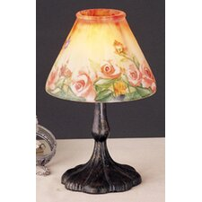 Butterfly and Roses Metal and Glass Lantern