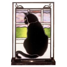 "Cat in Window Lighted Mini Tabletop Window 10.5"" H Table Lamp with Rectangular Shade"