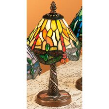 """Scarlet Art Glass Tiffany Hanging Head Dragonfly 12"""" H Table Lamp with Empire Shade"""
