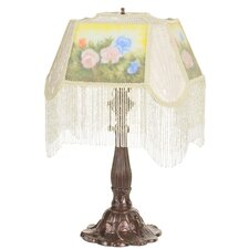 """Reverse Painted Roses 23.5"""" H Table Lamp with Rectangular Shade"""