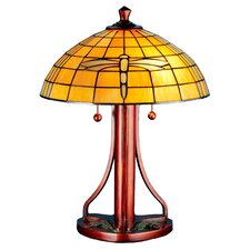 """Arts And Crafts Dragonfly 21.75"""" H Table Lamp with Bowl Shade"""