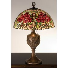 "Rose Bouquet 22.5"" H Table Lamp with Bowl Shade"