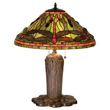 "Tiffany Dragonfly 25"" H Table Lamp with Cone Shade"