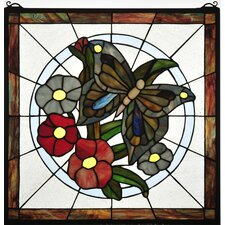 Butterfly Floral Stained Glass Window