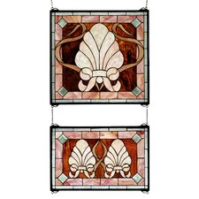 Victorian 2 Piece Shell and Ribbon Stained Glass Window
