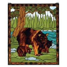 Brown Bear Stained Glass Window