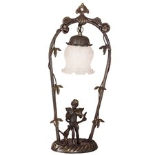 """Victorian Art Glass Cherub with Violin 19"""" H Table Lamp with Bell Shade"""